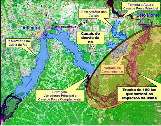 Mapa da Usina de Belo Monte em Xingu